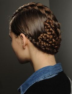 Braided and Pinned Up Runway Hairstyle