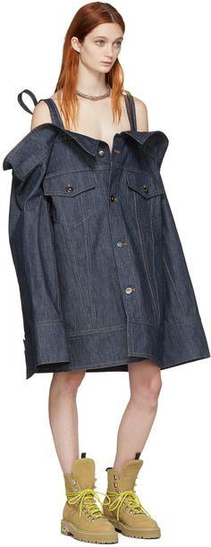 Matthew Adams Dolan - Indigo Denim Falling Cuff Off-the-Shoulder Jacket