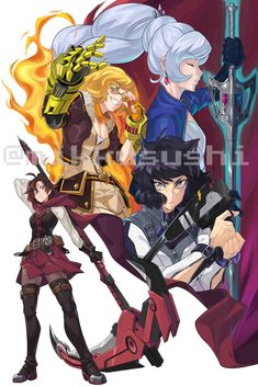 The best team (mikkusushi) : RWBY Rwby Anime, Rwby Fanart, Neon Katt, Rwby Volume, Rwby Comic, Rwby Ships, Team Rwby, Rooster Teeth, Character Art