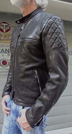 VINTAGE STYLE CAFE RACER  100% NATURAL VEG TANNING LEATHER JACKET www.thedileathers.com