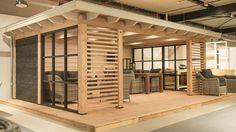show model-veranda-shutters-wood stove Garden Room, House, Garden In The Woods, Backyard Design, Outside Room, Modern Patio, Patio Design, Backyard Pavilion, Garden Buildings