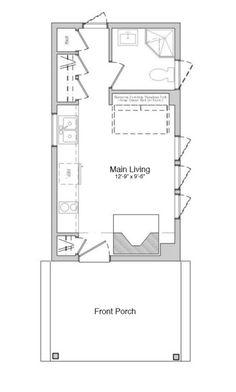 Modern Style House Plan - 1 Beds 1 Baths 312 Sq/Ft Plan #914-2 Main Floor Plan - Houseplans.com