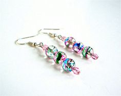 Dangly colorful swirly round bead earrings  by sparklecityjewelry