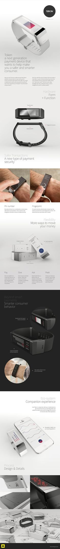 Token: A safe and secure next-gen payment wristband concept you can connect to your bank accounts. Time to lose those credit cards (on purpose this time).
