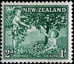 Stamp: Children Picking Apples 2 + 1 (New Zealand) (Health Stamps Mi:NZ 756 Postage Stamp Design, Postage Stamps, Stamp Values, Nz History, Postage Stamp Collection, New Zealand Houses, Kiwiana, Reptiles And Amphibians, Stamp Collecting
