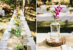 rustic centerpieces with assorted glass vases, burlap runner and wood rounds
