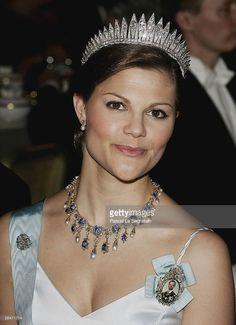 Crown Princess Victoria of Sweden attends the Nobel Banquet at City Hall on December 10, 2005 in Stockholm, Sweden.