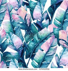 Tropical Banana Leaves custom wallpaper by hipkiddesigns for sale on Spoonflower Temporary Wallpaper, Beach Wallpaper, Vinyl Wallpaper, Fabric Wallpaper, Peel And Stick Wallpaper, Bedroom Wallpaper, Scandinavian Style, Line Art, Design Tropical