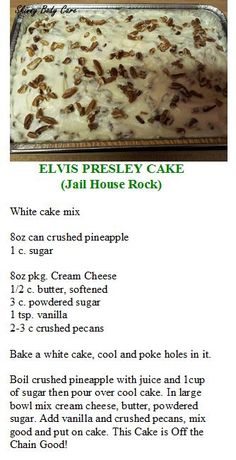 Elvis Presley Cake by celeste. Could totally make this with a GF white cake. Köstliche Desserts, Delicious Desserts, Dessert Recipes, Poke Cakes, Cupcake Cakes, Cupcakes, Fruit Cakes, Elvis Presley Kuchen, Elvis Presley Pound Cake Recipe