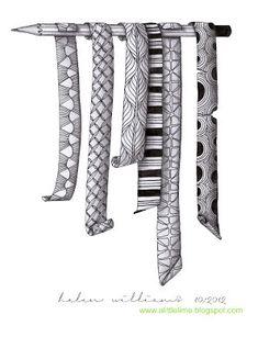 Zentangle doodles in stripes Zentangle Drawings, Doodles Zentangles, Doodle Drawings, Tangle Doodle, Zen Doodle, Doodle Art, Zantangle Art, Zen Art, Doodle Patterns