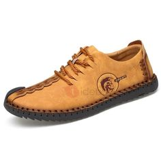 #TideBuy - #TideBuy Nubuck Leather Lace-Up Thread Mens Casual Shoes - AdoreWe.com