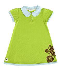 Green Flower Organic Peter Pan Dress: fun and simple shirt dress