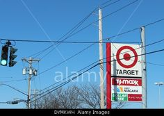 Download this stock image: Road signs in Niagara Falls USA - DYMKWH from Alamy's library of millions of high resolution stock photos, Stock Photo, illustrations and vectors. $TGT