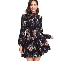 4ee18ecc87 SHEIN Autumn Floral Women Dresses Multicolor Elegant Long Sleeve High -  chicmaxonline Kwieciste Sukienki