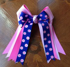 Horse Show Bows for Girls  pink blue bling by BowdanglesShowBows