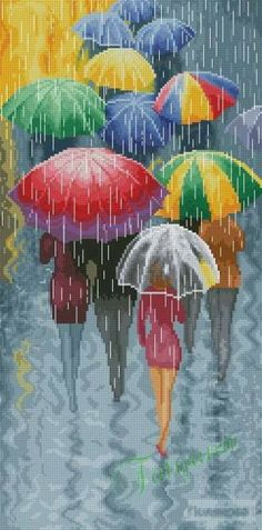 0 point de croix femmes sous la pluie avec des parapluies - cross stitch ladies, girls under the rain with their umbrellas part 1 Cross Stitch Art, Modern Cross Stitch, Counted Cross Stitch Patterns, Cross Stitch Designs, Cross Stitching, Cross Stitch Embroidery, Embroidery Patterns, Hand Embroidery, Stitch Shop