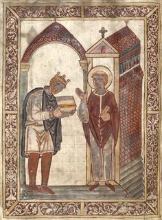 Athelstan,King of the Anglo-Saxons, King of the English. Illuminated manuscript from Bede's Life of St Cuthbert, from Corpus Christi College,Cambridge. Anglo Saxon Tattoo, Anglo Saxon Runes, Anglo Saxon History, European History, British History, Black History, Ancient History, Alfred Le Grand, Old English