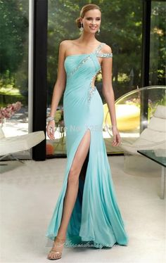 Sexy One Shoulder ACGowns Chiffon Beading Sequined Floor Length Zipper Up A-line Prom Dresses/ Evening Dresses/ Formal Dresses 6083 Elegant Dresses, Pretty Dresses, Women's Dresses, Formal Dresses, Dresses 2013, Sleeveless Dresses, Chiffon Dresses, Sheer Chiffon, Dance Dresses