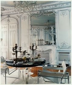 Dining room - gorgeous ornate traditional room paired with modern small dining set | Coorengel & Calvagrac