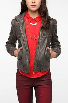To replace my H one that's falling apart - UO BDG Faux Leather Ribbed Collar Bomber Jacket