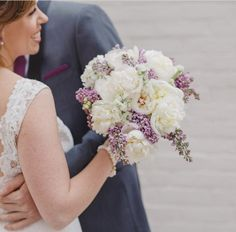 Lilac and peony bouquet with a touch of white stock. Peonies Bouquet, Peony, Bouquets, Lace Wedding, Wedding Dresses, Lilac, Wedding Stuff, Touch, Fashion