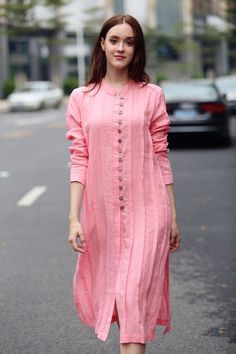 Final Sale 【only S left】linen dress, dress, pink dress, shirt dress, down collar dress Salwar Designs, Kurta Designs Women, Kurti Designs Party Wear, Dress Neck Designs, Designs For Dresses, Blouse Designs, Linen Shirt Dress, Linen Tunic, Linen Shirts