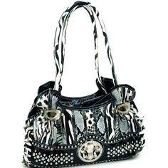 Animal Print Fleur de lis Handbag Purse with Rhinestones and Studs Black