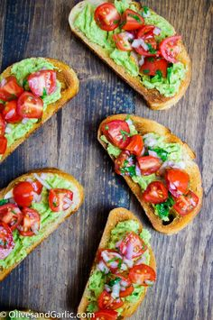 Guacamole Bruschetta Toast. This would be good if the tomatoes were fire roasted