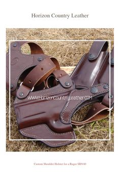 Custom Shoulder Holster for a Ruger SR9/40. Shown in Havana with Chestnut Thread