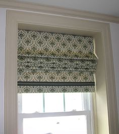 roman shades...trim on bottom. inside mount. For the little windows in the office.