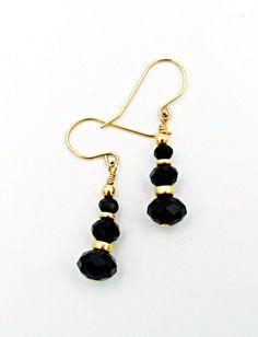 Crystal Earrings, Delicate Earrings, Black Crystal #jewelry #earrings @EtsyMktgTool #goldfilledcrystal #crystalgoldearring #hookgoldjewelry