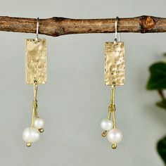 Bridal pearl earrings, long chandelier,hammered jewelry, wedding jewelry, white stone earrings,geometric earrings, christmas gift for mom by ColorLatinoJewelry on Etsy