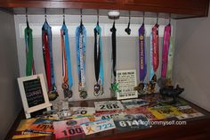 race medal display, bib display, running motivation station Race Bib Display, Race Medal Displays, Race Bibs, Move Your Body, Running Motivation, Live For Yourself, Cancer, Racing, Craft Ideas