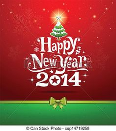 Clipart Vector of Happy New Year 2014 - Happy New Year lettering Greeting... csp14719258 - Search Clip Art, Illustration, Drawings and Vector EPS Graphics Images