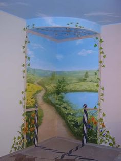 Роспись в интерьере смотрится не только элегантно и привлекательно, но и делает интерьер оригинальным...