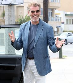 """Pierce Brosnan wearing MYKITA COLLECTION NO1 """"Jim"""" on the set of his new film """"How To Make Love Like An Englishman"""" #GetTheLook"""