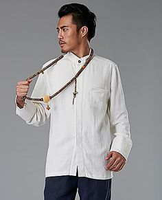 White Commoner Chinese Style Men's Shirt Casual Long-Sleeved via Asia-Sale Best Tai Chi, Kung Fu Clothing