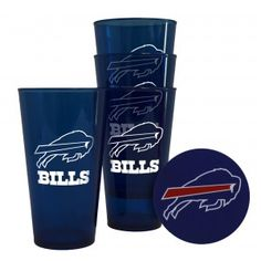 Buffalo Bills Tailgate Set (4 16oz Cups, 4 Coasters) from TailgateGiant.com