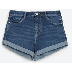 Zara High Waist Denim Shorts ($26) ❤ liked on Polyvore featuring shorts, short, dark blue, denim short shorts, short shorts, jean shorts, high-rise shorts and high-waisted shorts