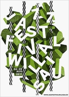 all my favorites: black and white stripes and spring-y green - Jazz Festival Poster