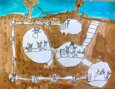 Above and Below. I ask the kids to build an imaginary underground home for a little animal or insect. Anything goes! From secret laboratories to rooms filled with candy! I was inspired by Jill Barklem's Brambley Hedge books. A class favourite!