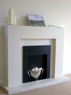 Living Room: Amazing Fireplace And Mantel Design Ideas, Minimalist Concrete Mantel and Fireplace Idea for White Living Room