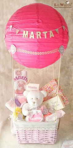 Baby girl hot air balloon diaper basket