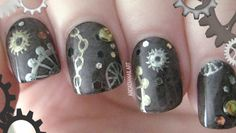 Steampunk Nail Art! Vintage Distressed Cogs, Gears and Chains |  Arcadia...