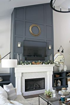 home decor wall Dramatic fireplace wall makeover! from Thrifty Decor Chick Fireplace Accent Walls, Fireplace Redo, Tall Fireplace, Accent Walls In Living Room, Fireplace Built Ins, Fireplace Remodel, Living Room With Fireplace, Fireplace Surrounds, Fireplace Design