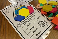 January Jumpstart {A Day at School} shapes, 2 dimensional shapes, 2d And 3d Shapes, Solid Shapes, Elementary School Library, Elementary Schools, Library Center, Dimensional Shapes, Guided Math, Pattern Blocks, Math Centers