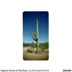 Saguaro Cactus In The Desert Label