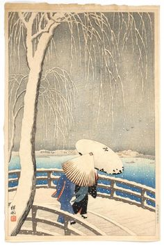 "OHARA SHOSON ""Snow at Willow Bridge"". Depicting two figures with umbrellas crossing a bridge in snow. Watanabe Shozaburo seal in low..."