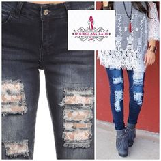 """Lace panel destructed plus size skinny jeans Lace panel distressed destructed plus size skinny jeans Factory destructed dark wash with lace peek-a-boo frayed holes   I feel that these are true to size based on how they fit me...however, PLEASE READ measurements! If you are on the fence with a size, size up☺️ Size 16 Waist 17"""" across, 31"""" inseam 70% cotton, 27% polyester, 3% elastane Very stretchy, well made  ‼️PRICE FIRM UNLESS BUNDLED‼️ Create a bundle for 15% off! Thanks for looking✌️❌NO…"""