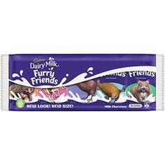 A box of 48 bars of Cadbury Furry Friends Chocolate Pack, Cadbury Chocolate, Chocolate Brands, Cadbury Dairy Milk, Australian Animals, Brand Names, Bar, Friends, Boyfriends